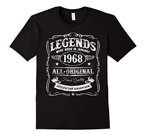 Mens Legends Were Born In January 1968 Shirt 50th Birthday Gift Large Black