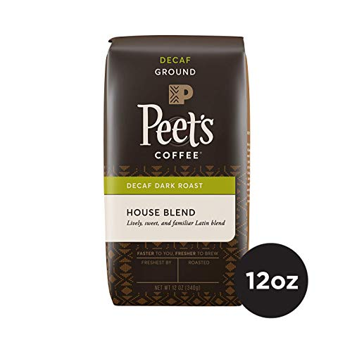 Peet's Coffee Decaf House Blend Dark Roast Ground Coffee, 12 Ounce Bag Decaffeinated Coffee