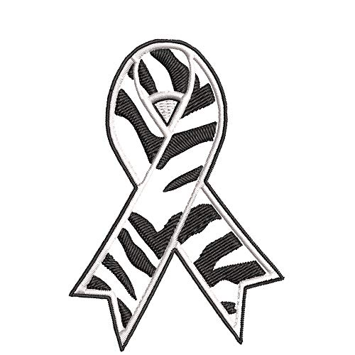 "Rare Disease Awareness - Zebra Ribbon - 3.5"" Embroidered Iron or Sew-on Patch - Make A Difference Ribbon Support Series Souvenir Travel Vacation - Cap Hats Bags Badge"