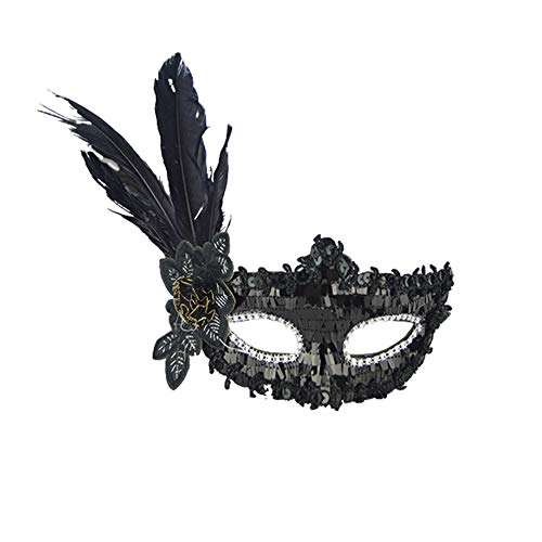 - Rumas Sexy Carnival Party Masquerade Mask for Women - Cosplay Accessory Face Mask for Halloween Christmas Festival - Black Hot Pink Purple Red Yellow (Black)