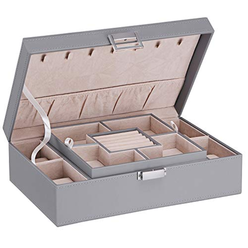 BEWISHOME Jewelry Box Organizer with 4 Watch Case Removable Tray Jewelry Display Storage Case - 7 Necklace Hook - Velvet Lining - Earring Ring Bracelet Case for Women Girls - PU Leather Grey SSH07H from BEWISHOME