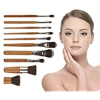 10pcs Makeup Cosmetic Bamboo Brushes Set Powder Foundation Eye Shadow Brush Bag