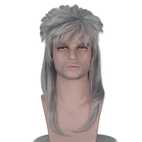 Long Wavy 70s 80s Themed Party Hair Adult Rocker Heavy Metal Punk Wig Mullet Cosplay Costume Wig (Grey Wavy) -