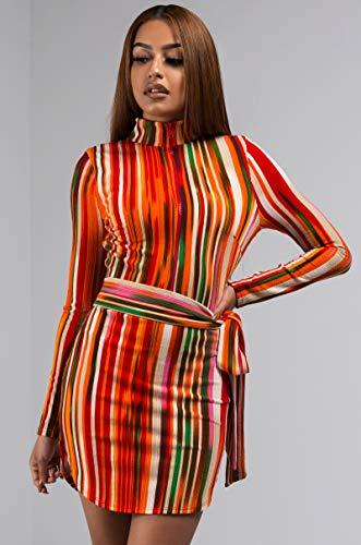 Bandes Chaudes Des Femmes Akira Col Roulé 70 Disco Rétro Manches Longues Ceinture Nouée Mini Robe Moulante Extensible Multi Orange,