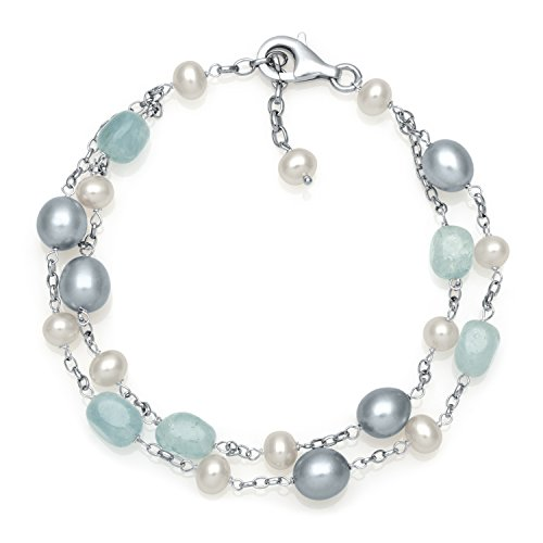 Sterling Silver Milky Aquamarine and Pearl Chain Link Station Tin Cup Bracelet for Women, 7.5""