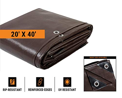 20' x 40' Super Heavy Duty 16 Mil Brown Poly Tarp Cover - Thick Waterproof, UV Resistant, Rot, Rip and Tear Proof Tarpaulin with Grommets and Reinforced Edges - by Xpose Safety