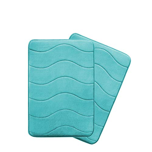 (Ultra Soft Floor Mats Tufted Bath Rug Non-Slip Backing Microfiber Door Mat Soft Non Slip Absorbent Bath Rugs, Memory Foam Bath Mats Two Pack by FlamingoP Green Waved Pattern, Size:W17 xL24)