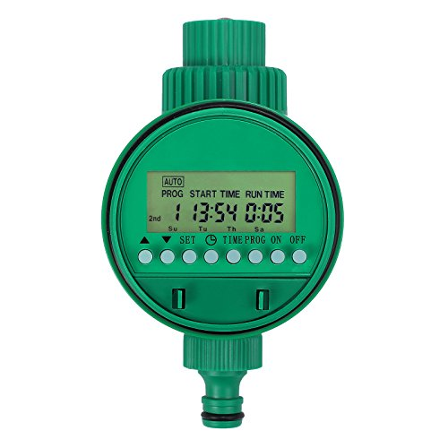 Proster Water Timer 3/4″ 19mm Automatic Irrigation Watering Timer Single Outlet LCD Display 16 Program 1m – 9h 59m Garden Greenhouse Plant Grass Digital Electronic Watering Timer