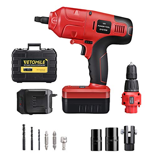 VETOMILE 18V Cordless Impact Drill Driver Kit and Electric Wrench Tool Set 2 Speed Powerful Combo Kits with Rechargeable Lithium-Ion Battery, Charger and Portable Carry Case