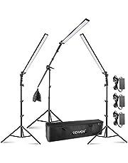 Neewer Kit de luces LED para video de , paquete de 3 luces de video LED de mano regulables 5500K con soportes de luz, brazo articulado, bolsa de arena vacía y bolsa de transporte para fotografía de estudio y video de YouTube