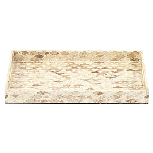 Howard Elliott 25150 Rectangular Wood Tray with Natural Toned Capiz Shell