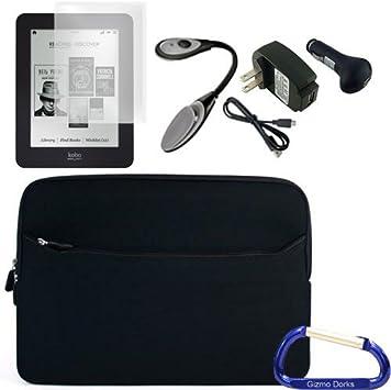 Gizmo Dorks neopreno Funda (negro), cargadores, Protector de pantalla, y libros electrónicos luz para Kobo Glo eReader: Amazon.es: Electrónica