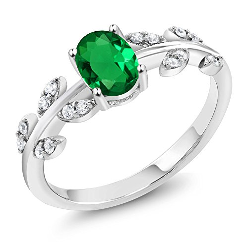 Gem Stone King 0.71 Ct Oval Green Simulated Emerald and Diamond 10K White Gold Olive Vine Ring (Size 6)