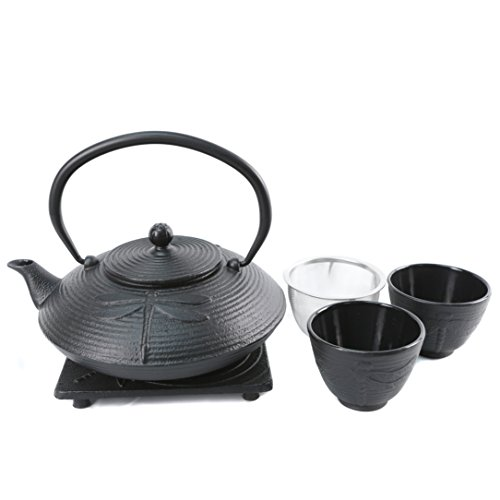 Cuisiland Dragonfly Cast Iron Teapot Set with 2 Cups 27oz Black