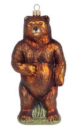 Grizzly Bear Wildlife Alaska Polish Glass Christmas Ornament (Grizzly Bear Ornament)