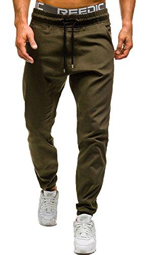 JOKHOO Men's Fashion Outdoor Elastic Waistband Casual Jogger Pants Trousers (Green 1, L) ()