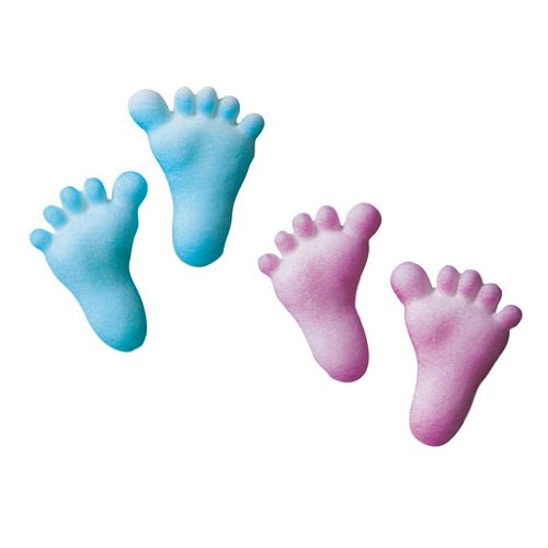 Lucks Dec-Ons Decorations Molded Sugar/Cup-Cake Topper, Baby Feet Assortment, 1.25 Inch, 100 Count