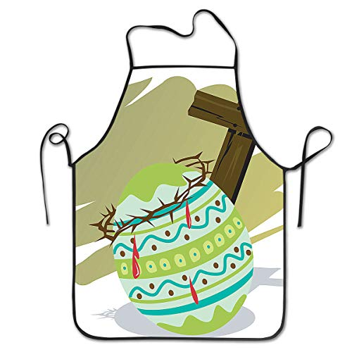 King Fong Easter Cross Eggs Vintage Aprons for Women Mens Kitchen Aprons for Chef Waiter Cooking Baking Crafting Gardening BBQ