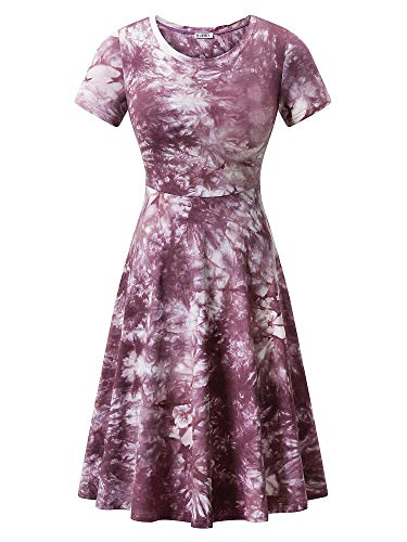HUHOT Women Sun Cover Up Vacation Holiday Tie Dye Dresses for Travel XXL Purple