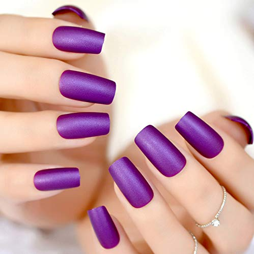CoolNail Elegant Violet Purple Long Matte False Fake Nail Frosted Nep Nagels Acrylic Full Artificial Nails for Home Office faux ongles