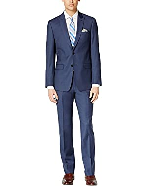 Calvin Klein Slim Navy Textured 2 Button Flat Front New Men's Suit