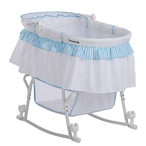 Dream On Me Lacy Portable 2-in-1 Bassinet, Blue/White