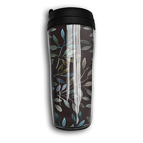 MANKCEST Travel Coffee Mug Watercolor Leaf Milk Cup Food Gra