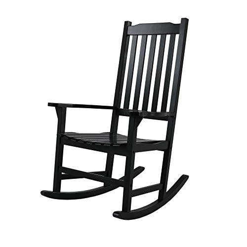 Knocbel Indoor & Outdoor High-Back Wooden Rocking Chair Porch Rocker Lounge Furniture for Patio Lawn Pool Deck (Black)