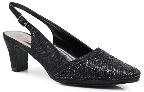 Sling Black Shoes - Enzo Romeo CBA04 Women's Wide Width Sling Back Rhinestone Low Heeled Pointy Pumps Sandals Shoes (8.5 Wide US, Black)