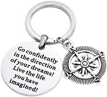 LParkin Go Confidently In The Direction Of Your Dreams Necklace/Keychain , Stainless Steel