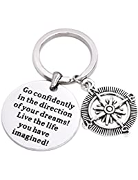 Go Confidently In The Direction Of Your Dreams Necklace/Keychain, Stainless Steel