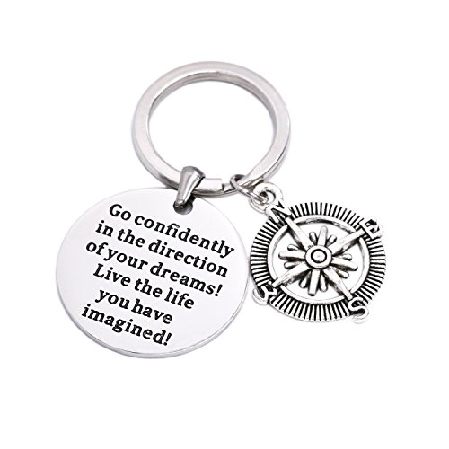 LParkin Go Confidently In The Direction Of Your Dreams Keychain, Stainless Steel (Inspirational Graduation Gifts)