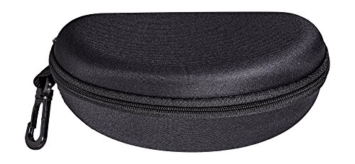 Wrap Around Zipper (Large Sporty Eyeglass Case For Sunglasses, Zip-up Glasses Case With Clip, Black Venture)