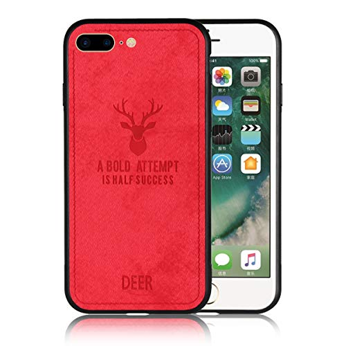 (iPhone 7/8 Plus Case Cavor Flexible Soft Phone Case with Ultra Slim Scratch Resistant Full Protective Matte Cloth and Deer Pattern Cover Case for iPhone 7 Plus/iPhone 8)