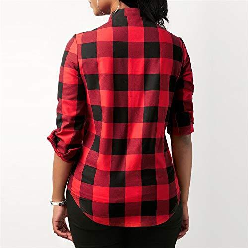 A Di Con Maniche Bluse Camicetta Lunghe Per Camicia Ysfu Scacchi Donna Cotone Interno Camicie Quadri nRqnWBS