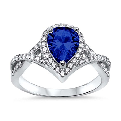 Sapphire Ring Accent (Halo Teardrop Wedding Promise Ring Infinity Accent Simulated Blue Sapphire Round CZ 925 Sterling Silver, Size-6)