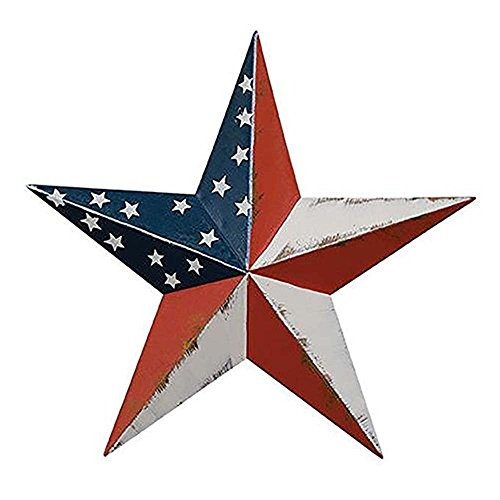 "CWI Americana Barn Star. Red, White, Blue Metal Patriotic Wall Stars. 4 Sizes (18"")"