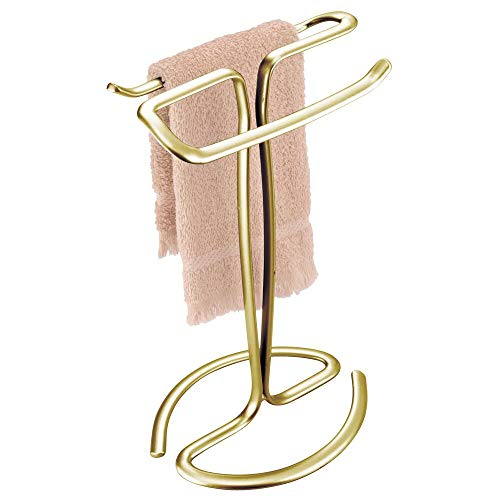 mDesign Decorative Metal Fingertip Towel Holder Stand for Bathroom Vanity Countertops to Display and Store Small Guest Towels or Washcloths - 2-Sided, 13.8