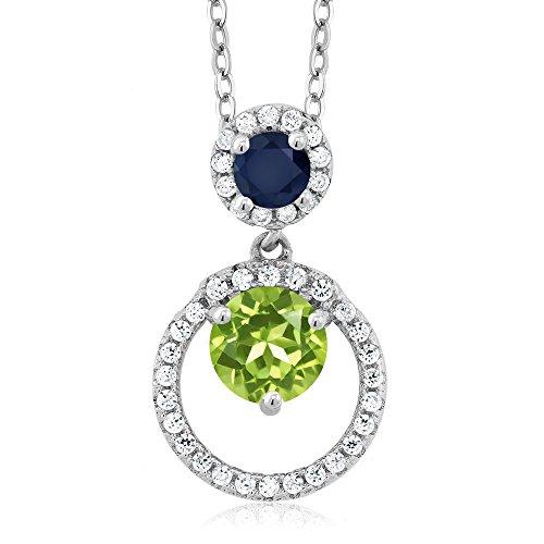 1.81 Ct Round Green Peridot Blue Sapphire 925 Sterling Silver Pendant