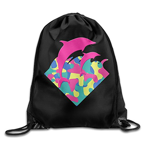 Price comparison product image Chocy Double Pink Dolphin Design Animal Pattern Tour White Sack Bag White