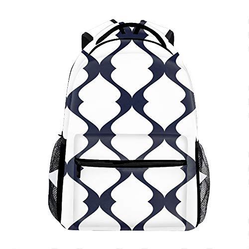 School Backpack Classic Travel Laptop White Blue Stripes Backpack Rucksack Middle School Bookbag