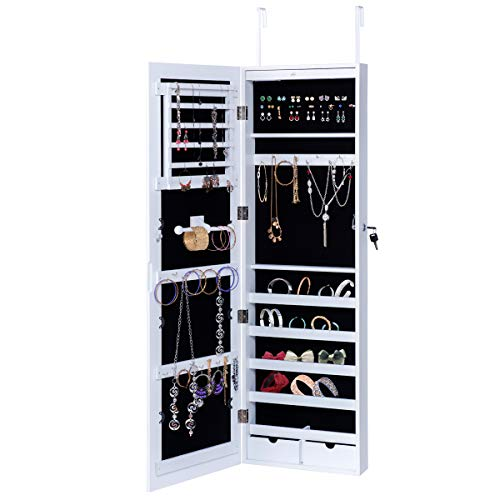 Giantex White Mirror Jewelry Cabinet Armoire with Lock and Lights Wall Door Mounted Storage Organizer by Giantex
