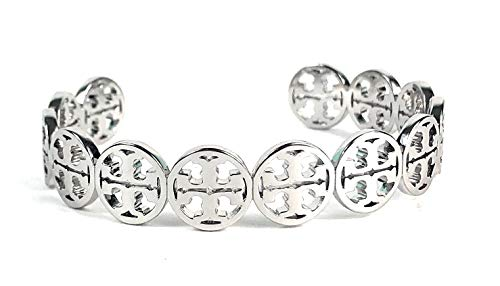 - Tory Burch Frozen Logo Cuff Bracelet Silver Plated Womans