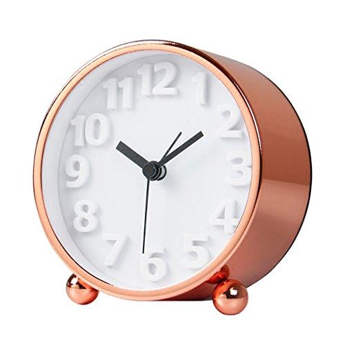 XZJT 2018 Rose Gold Nordic Creative Cute Clock Mute Modern Minimalist Children Room Bedside Metal Alarm Clock Bedside Art Clock - Rose Gold