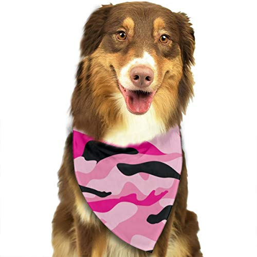 ROCKSKY Dog Bandanas, Soft Triangle Birthday Bandana Scarves Head Scarves for Small to Large Dogs Cats Pets - Pet Neck Tie Scarf Neckerchief, Military Army Camo Camouflage Black Pink]()