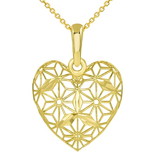 Gold Filigree Charm Heart (Textured 14K Yellow Gold 3D Heart Charm with Filigree Pendant Necklace, 18