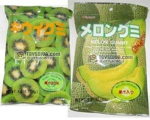 Kasugai Kiwi and Melon Gummy Candies 2 Packs (4.41 Oz / - Gummy Kiwi Kasugai