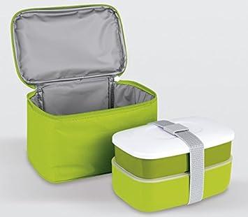 Life Style - Bolsa Térmica Porta Alimentos - 2 Recipientes más Cubiertos - Verde
