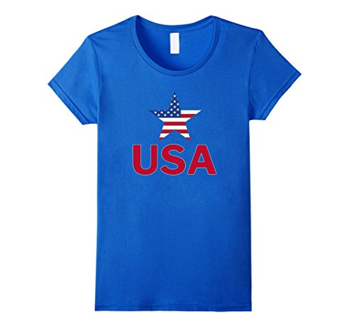 Womens USA Red White Blue T-shirt American Flag U.S.A Sta...