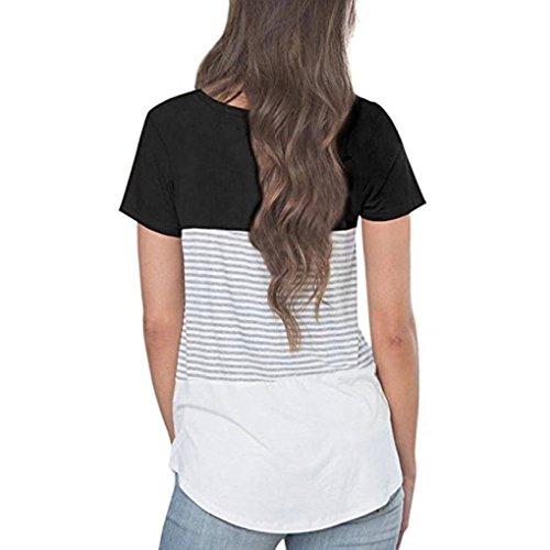Cosyou Coton Ample À Manches Courtes Été T Des Femmes Chemise Décontractée Lâche T-shirt Noir 4